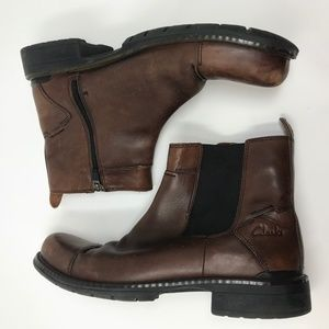 Clarks Brown Leather Boots Side Zip 11M